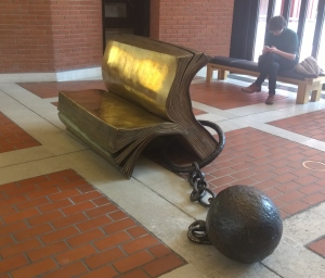 Bill Woodrow's Sitting on History; British Library; photograph by Angela Sutton-Vane 2015