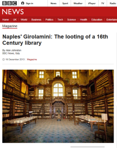 Naples' Girolamini; BBC News article from http://www.bbc.co.uk/news/magazine-25403595