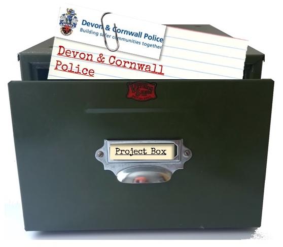 Card index box with Devon & Cornwall Police index card