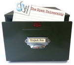 Card index box with Open University index card