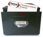 Card index box with Thackray Medical Museum index card