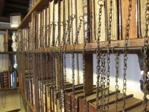The chained library at Wimborne Minster; image from http://www.wimborneminster.org.uk/110/chained-library.html