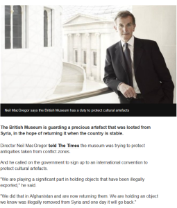 The British Museum has a duty to protect cultural artefacts; Neil MacGregor; British Museum; screen clipping from BBC News website