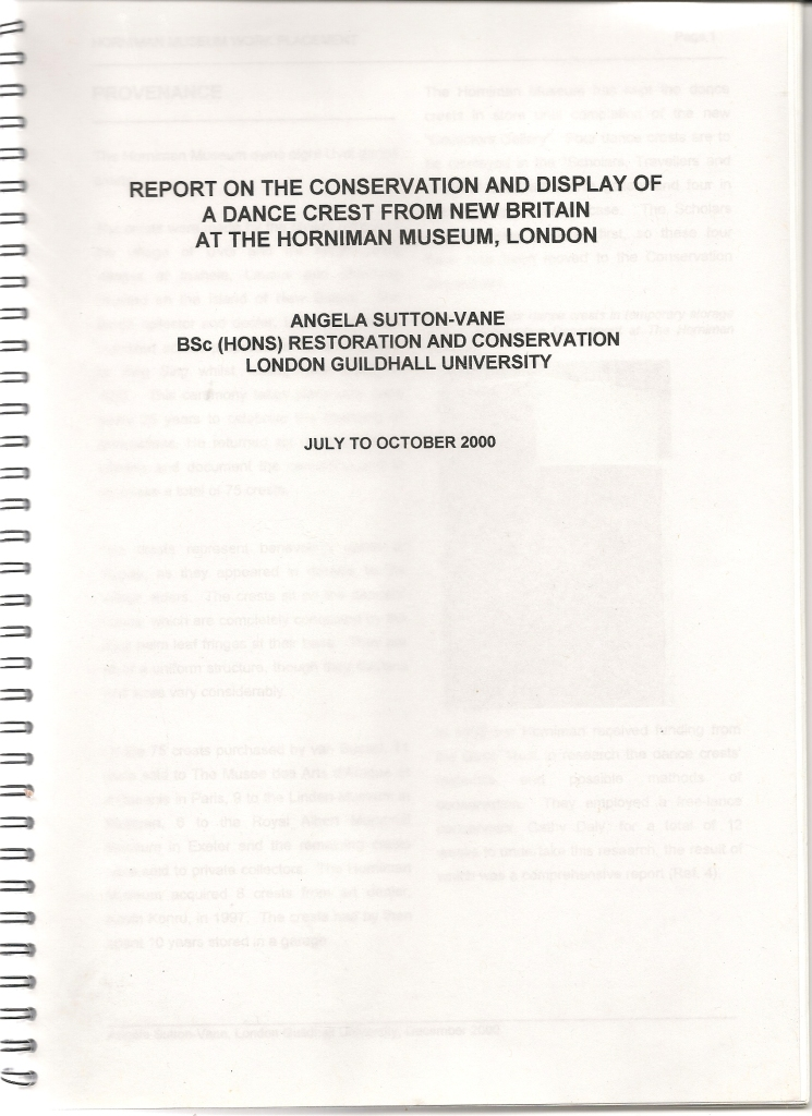 Photograph of conservation report by Angela Sutton-Vane; click image to open report