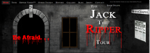 Jack the Ripper Tours; image of website from: http://www.thejacktherippertour.com/