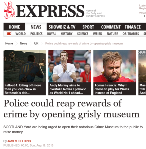 Screenshot from: http://www.express.co.uk/news/uk/422852/Police-could-reap-rewards-of-crime-by-opening-grisly-museum