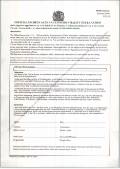 Photograph of a blank official secrets act form