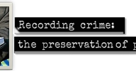 Recording Crime logo - image of police officer writing in notebook and old-fashioned dymo-style lettering