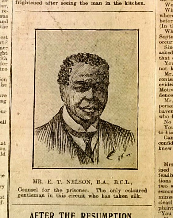 Image of court portrait of the lawyer in the case of Wilde, 1910, from The Dukinfield Herald; Cheshire Archives: CJP 20/20/1